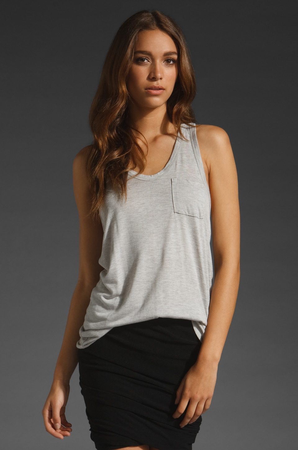 T by Alexander Wang Classic Tank with Pocket in Light Heather Grey