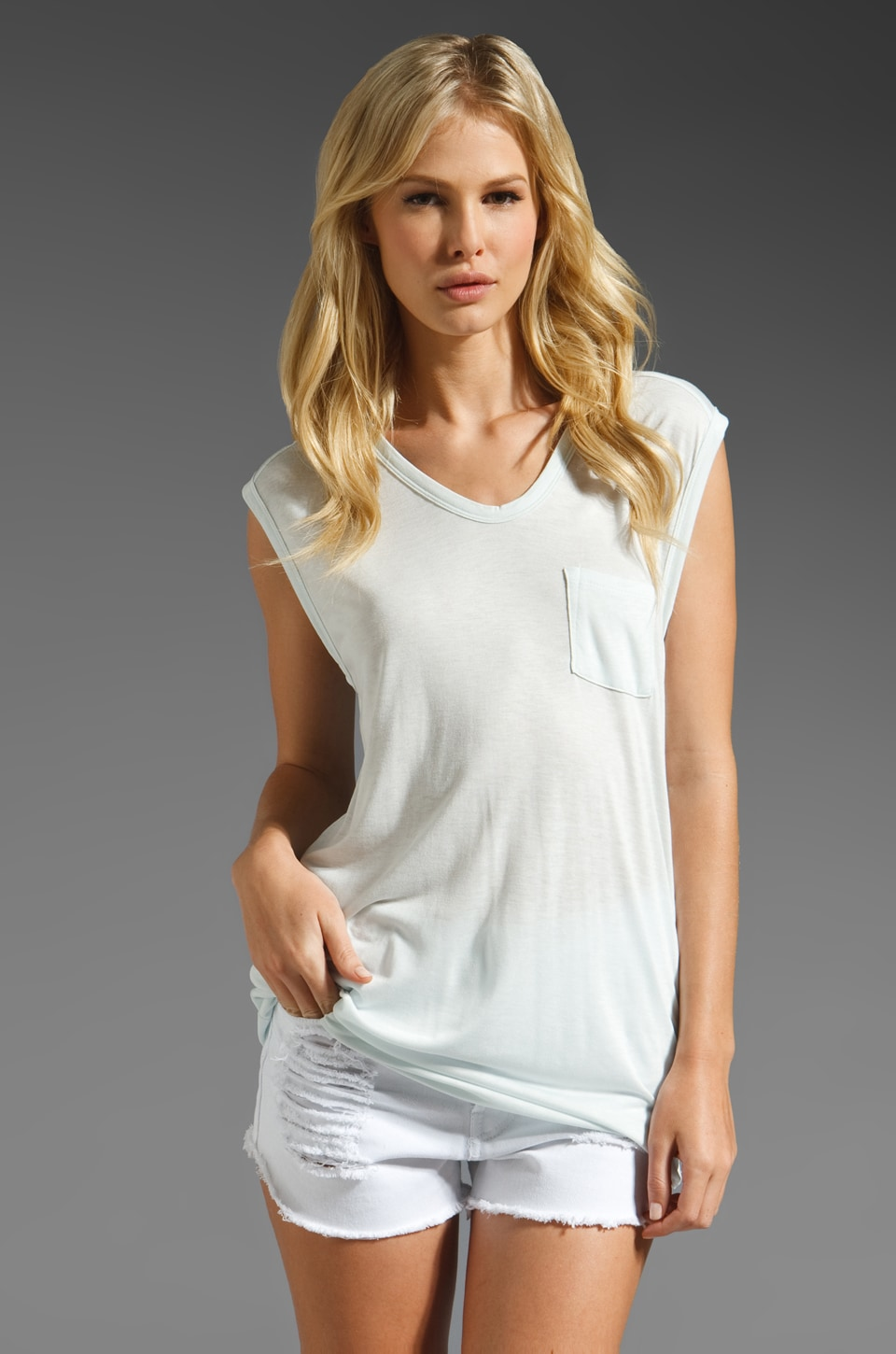 T by Alexander Wang Classic Muscle Tee in Ice