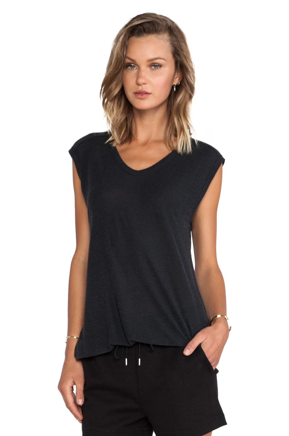 T by Alexander Wang Slub Classic Muscle Tee in Charcoal