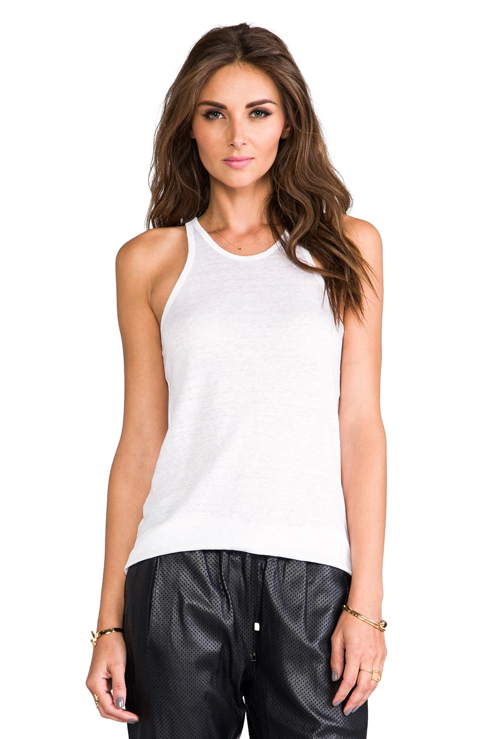 T by Alexander Wang Linen Silk Jersey Tank in White