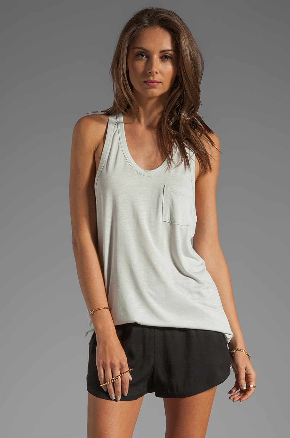 T by Alexander Wang Classic Tank with Pocket in Plaster