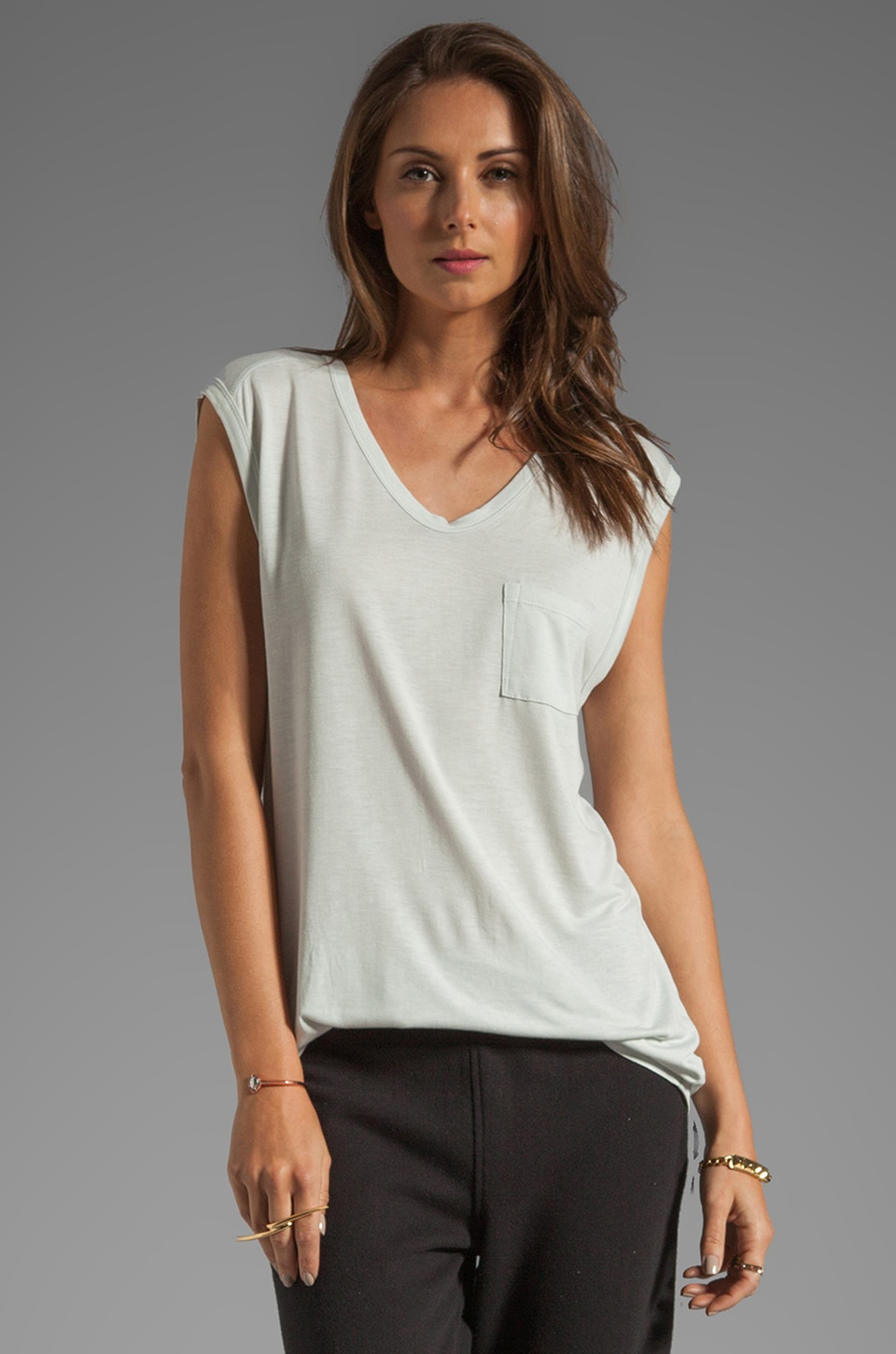 T by Alexander Wang Classic Muscle Tee with Pocket in Plaster