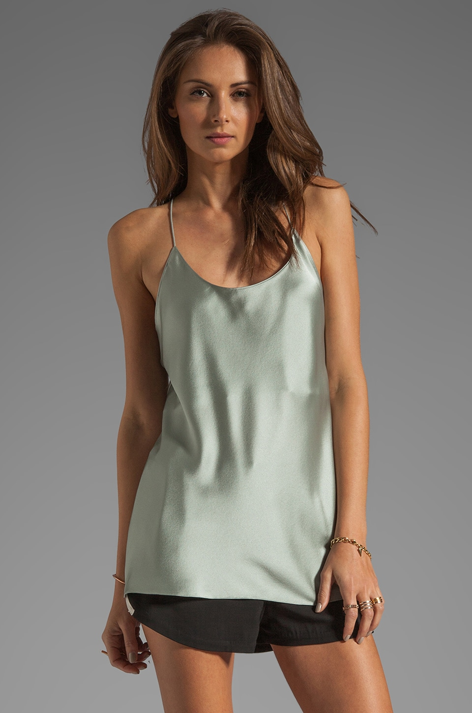 T by Alexander Wang Silk Satin Cami in Jade