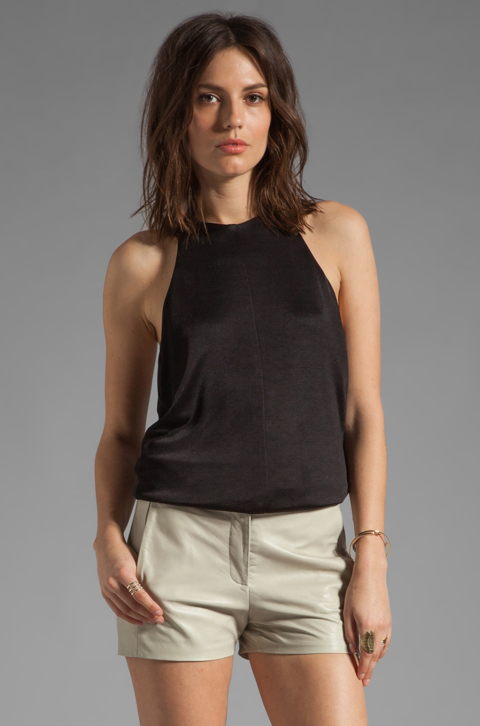 T by Alexander Wang Pique Double Knit Halter Top in Black
