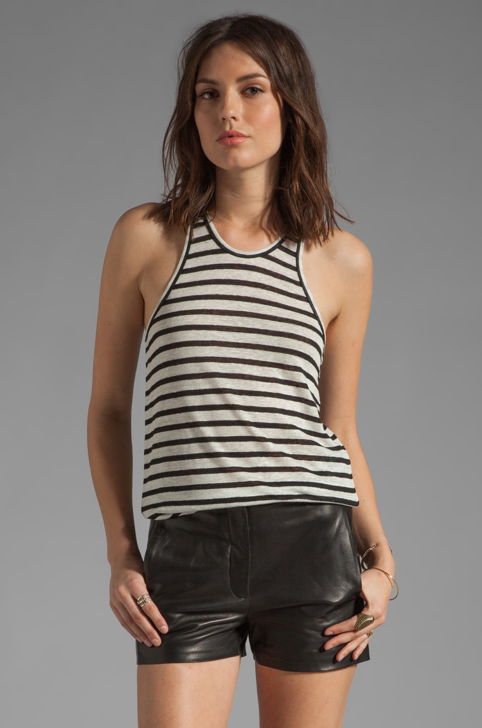 T by Alexander Wang Linen Stripe Tank in Black & Bone