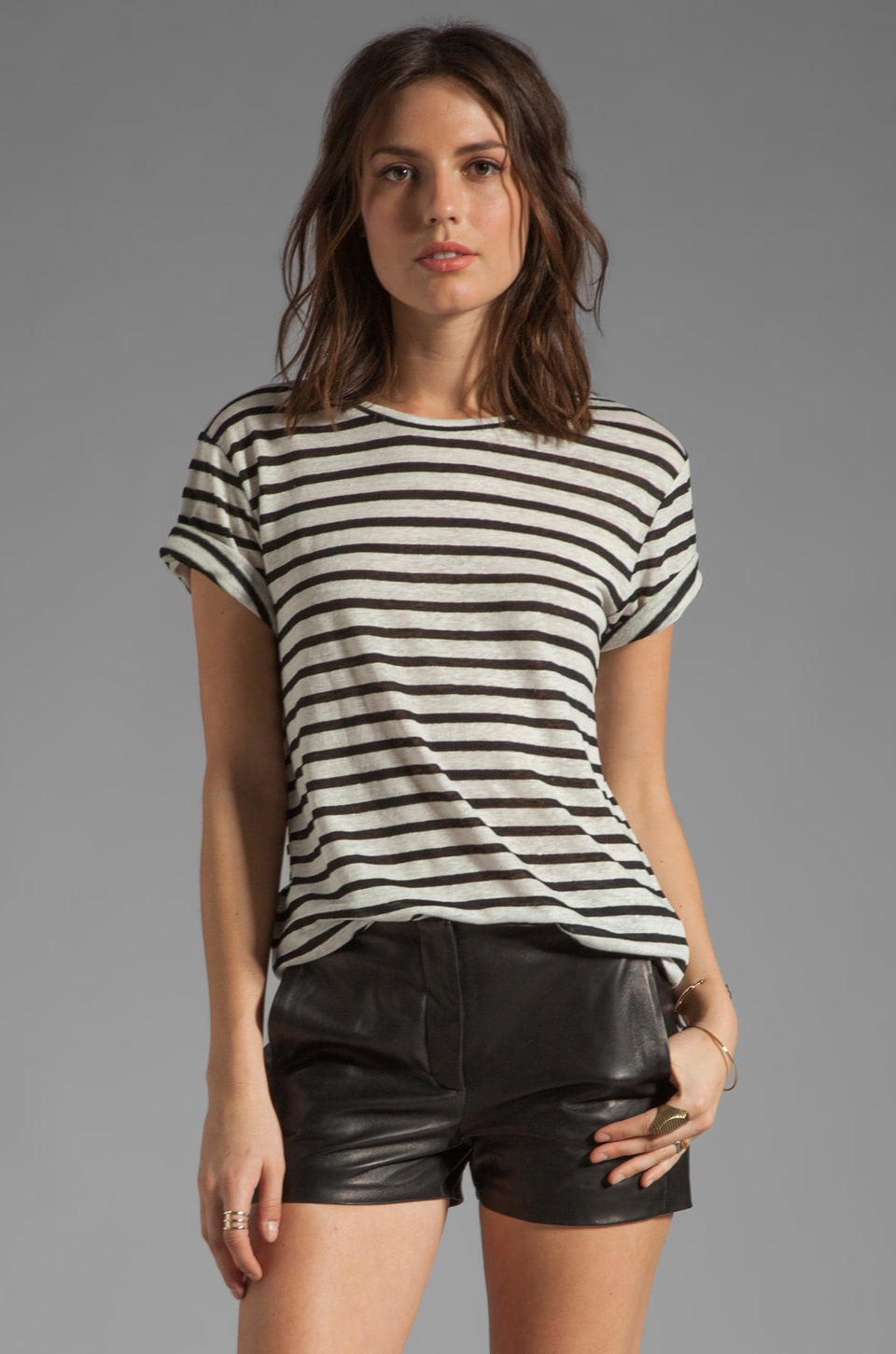 T by Alexander Wang Linen Stripe Tee in Black & Bone