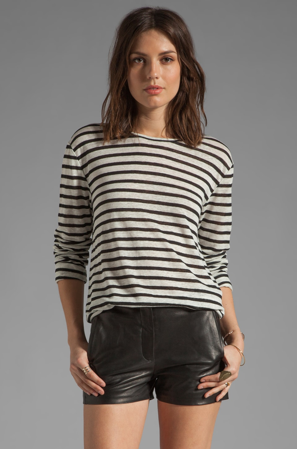T by Alexander Wang Linen Stripe Long Sleeve Tee in Black & Bone