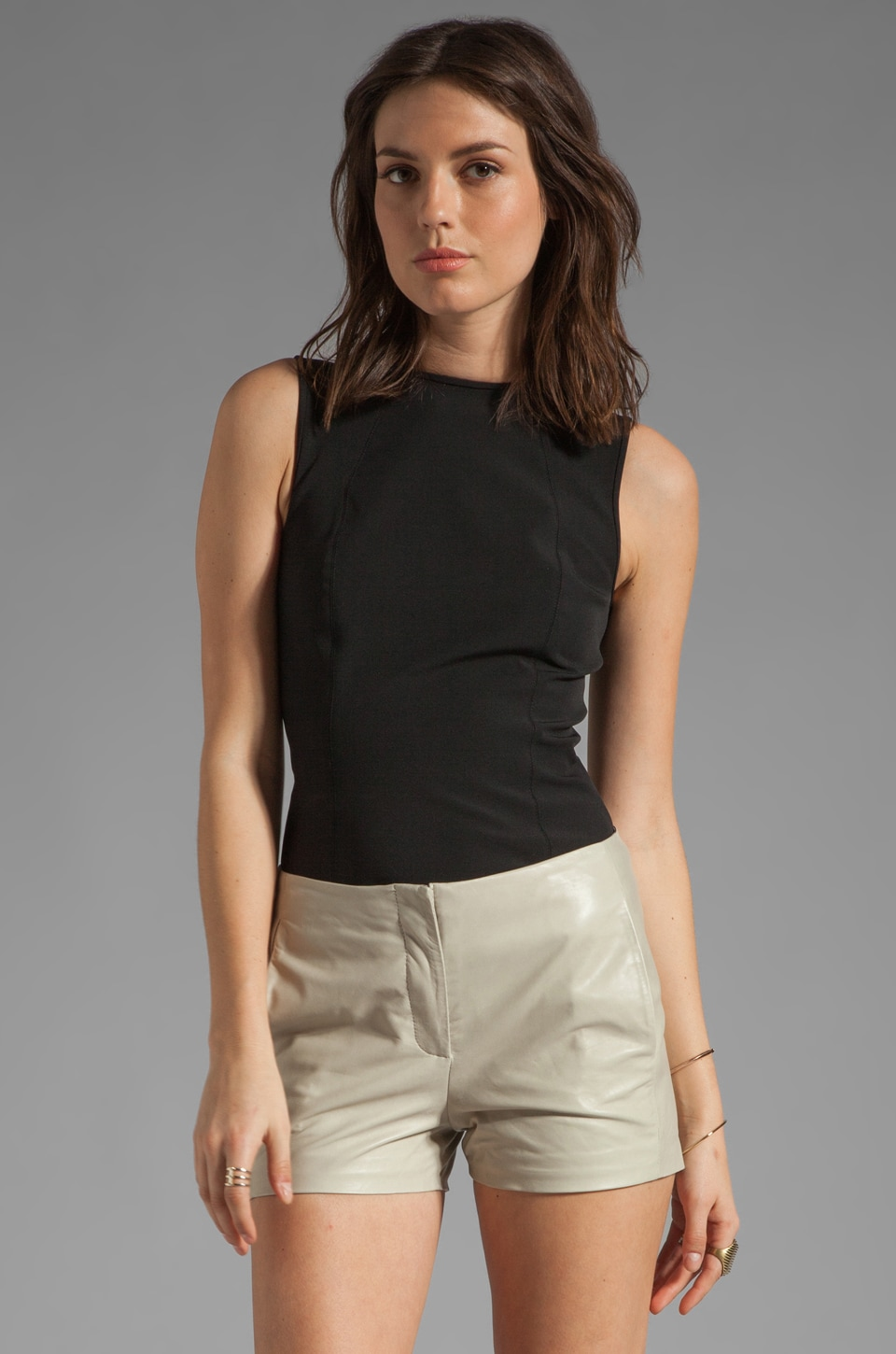 T by Alexander Wang Tech Suiting Shell Top in Black