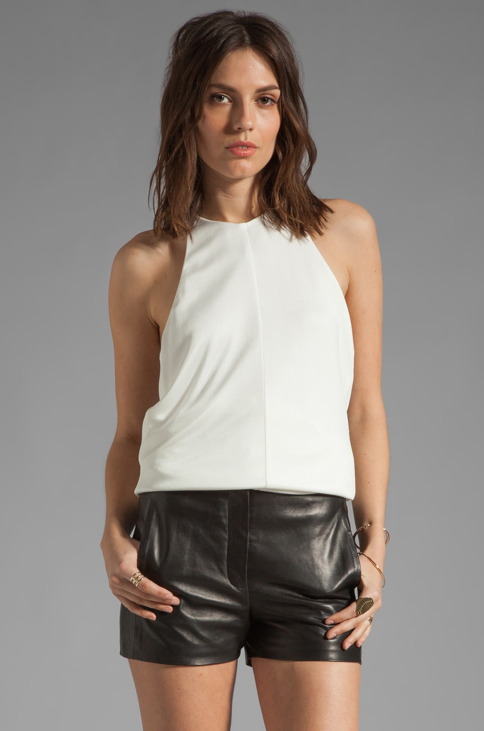 T by Alexander Wang Pique Double Knit Halter Top in Ivory