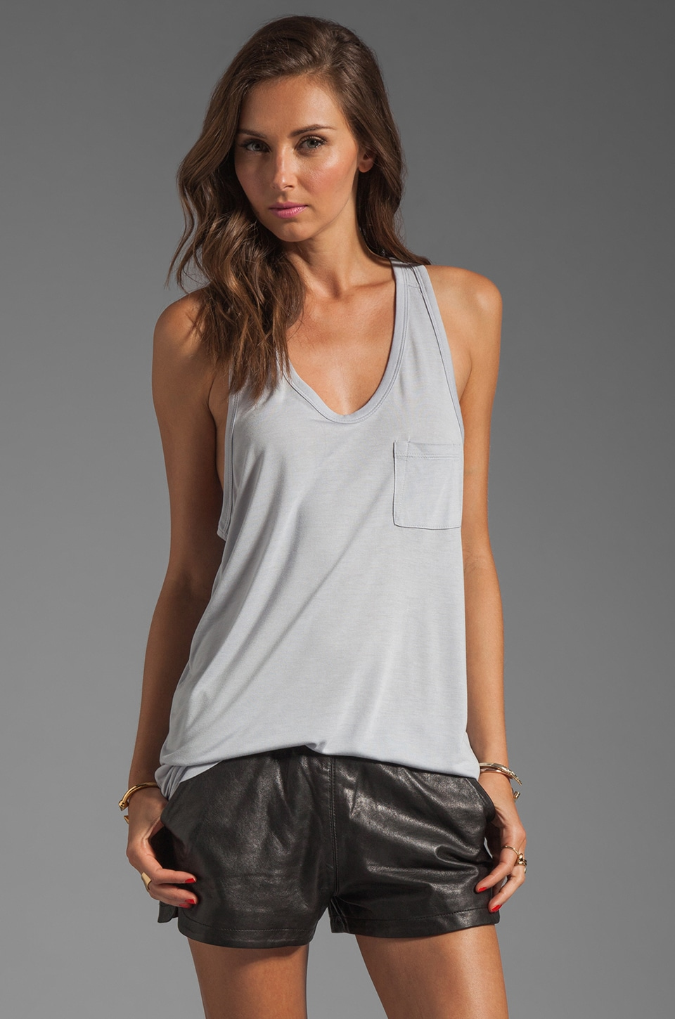 T by Alexander Wang Classic Tank with Pocket in Lavender