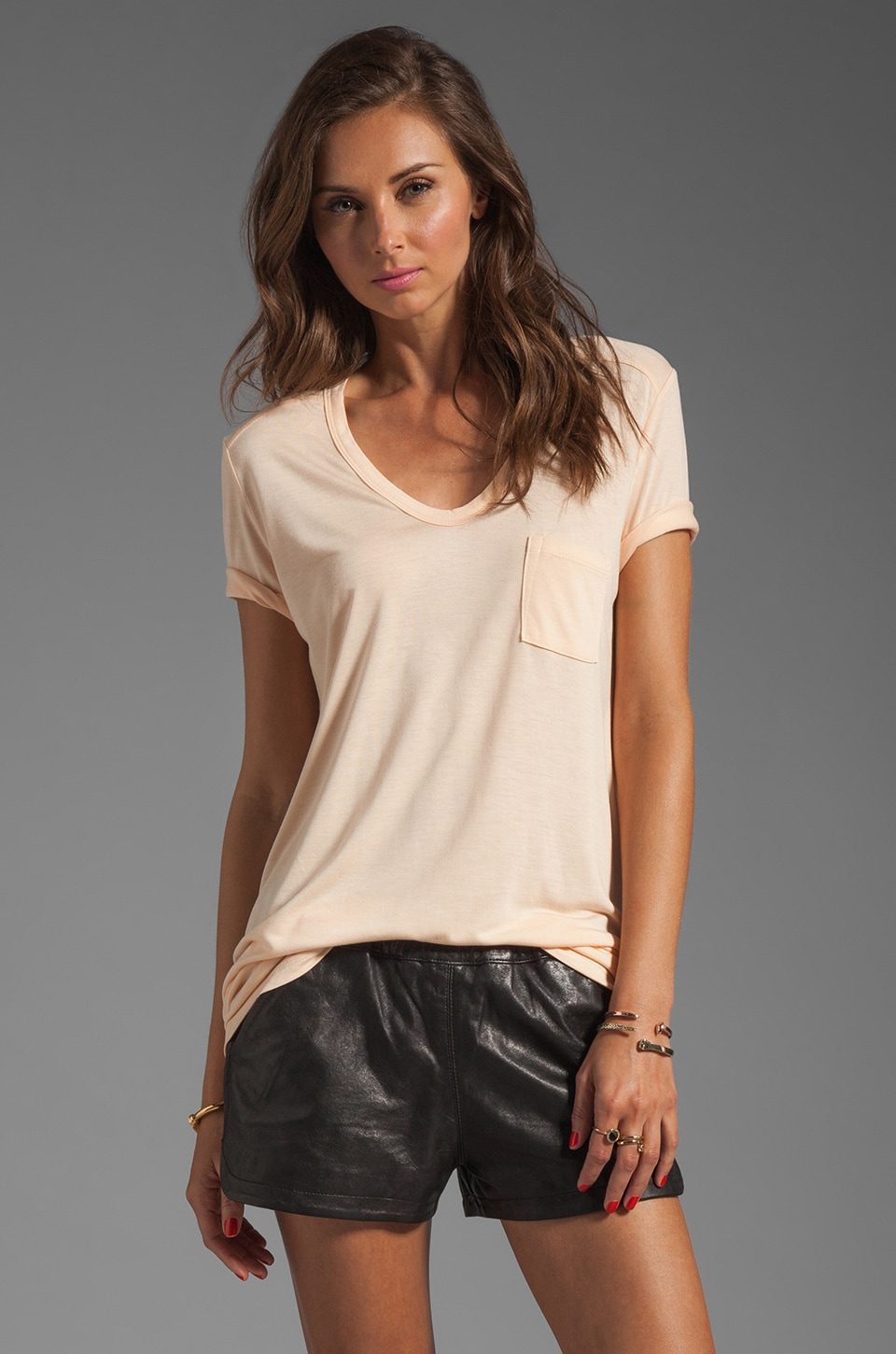 T by Alexander Wang Classic Tee with Pocket en Sorbet