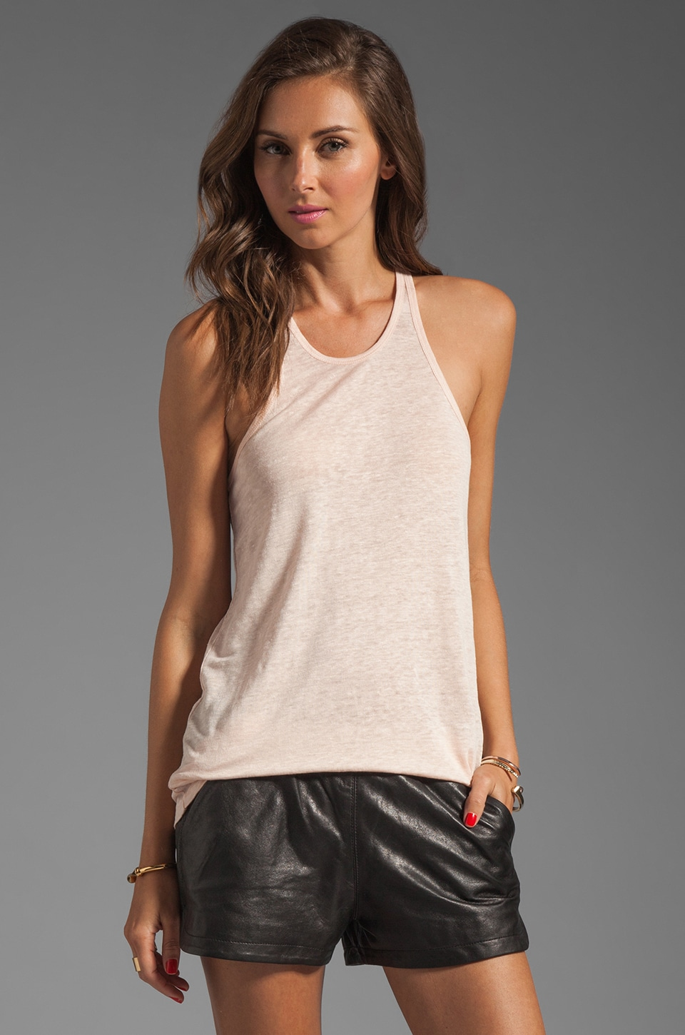 T by Alexander Wang Linen Silk Jersey Tank in Blush