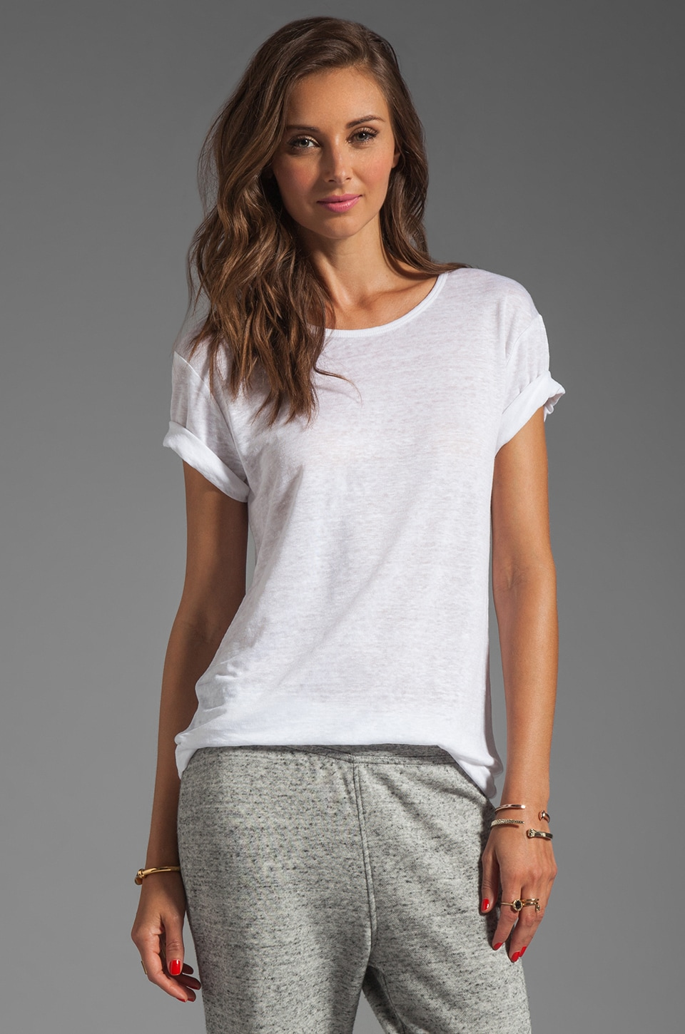 T by Alexander Wang Linen Silk Jersey Tee in White