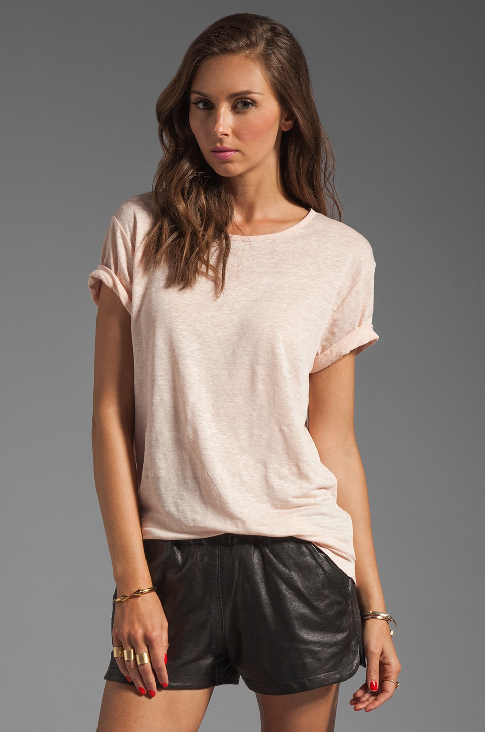 T by Alexander Wang Linen Silk Jersey Tee in Blush