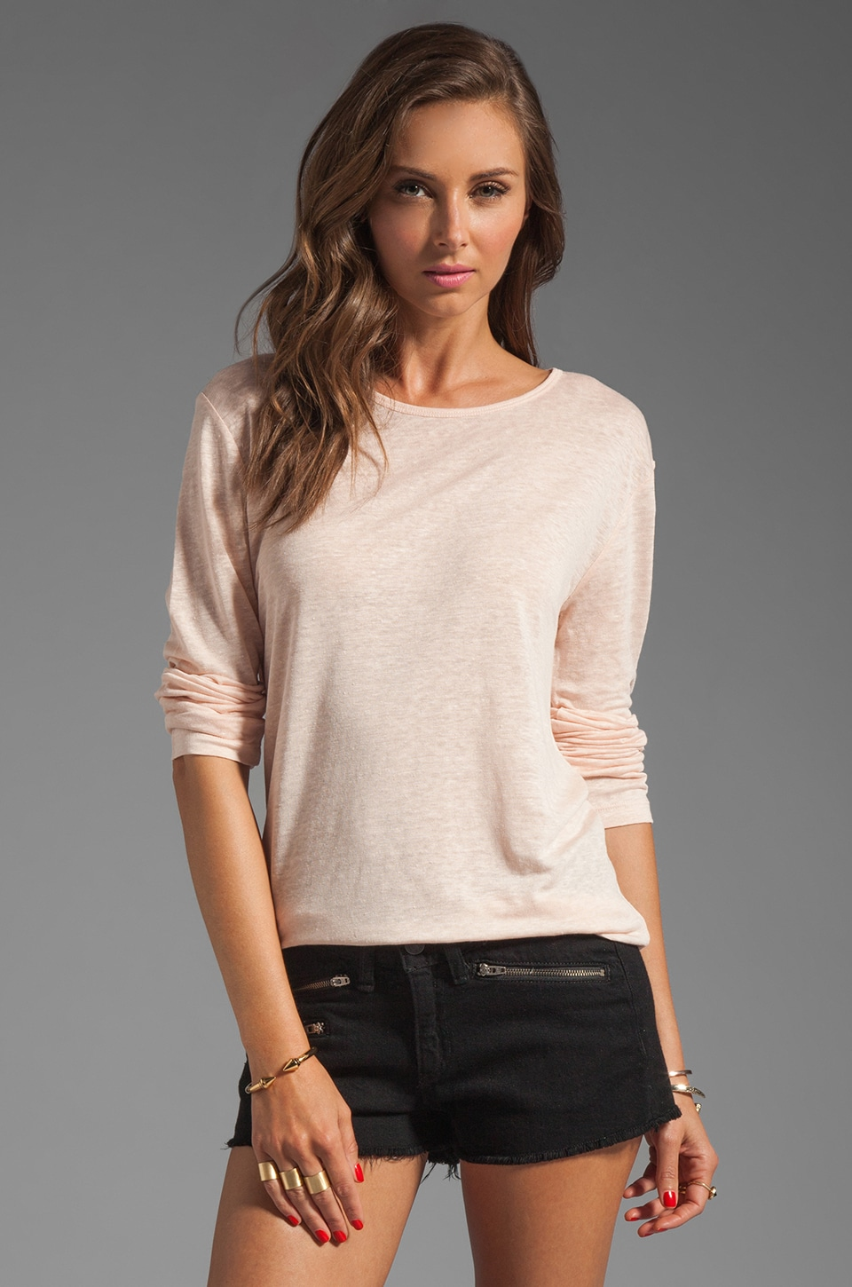 T by Alexander Wang Linen Silk Long Sleeve Tee in Blush