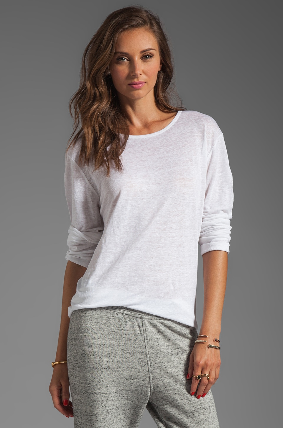 T by Alexander Wang Linen Silk Long Sleeve Tee in White