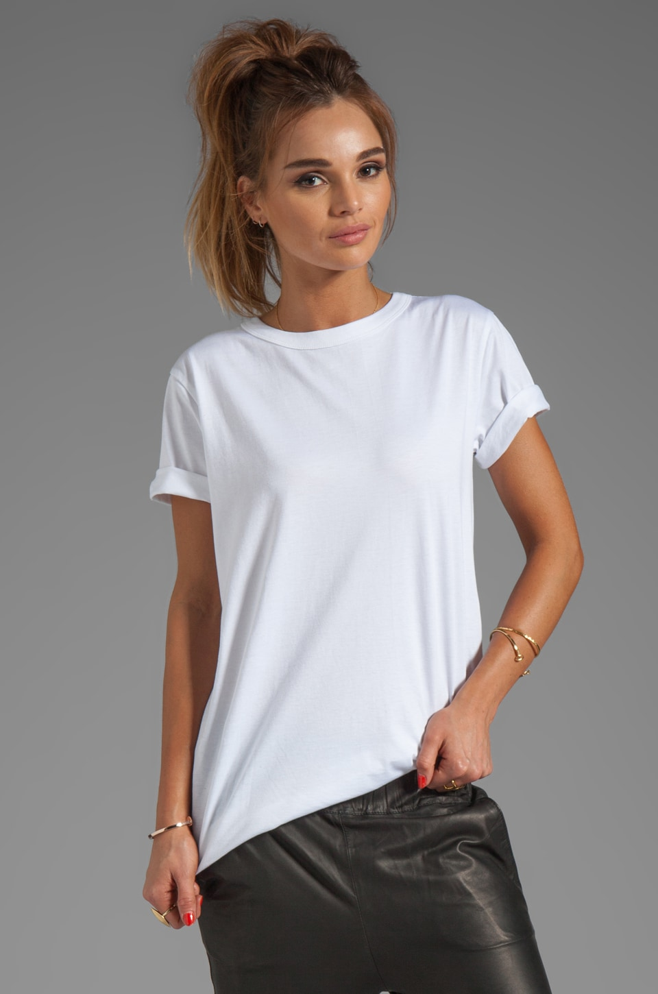 T by Alexander Wang Supima Jersey Crewneck Tee in White