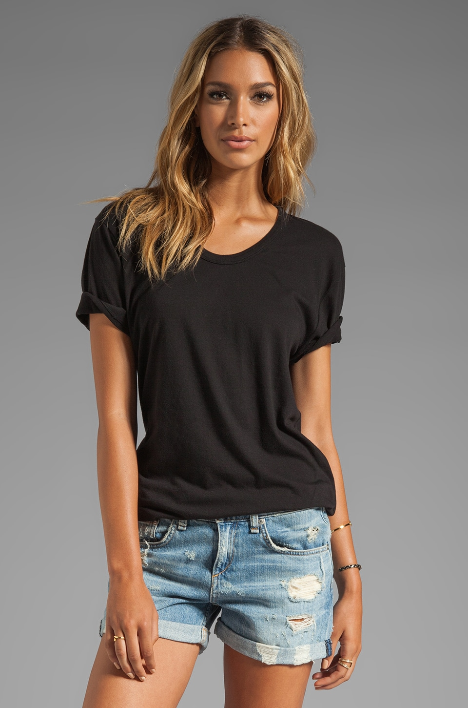 T by Alexander Wang Classic Low Neck Tee in Black
