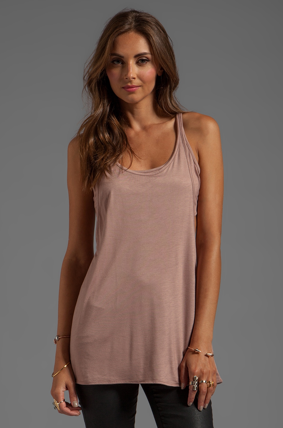T by Alexander Wang Criss-Cross Back Tank in Mauve