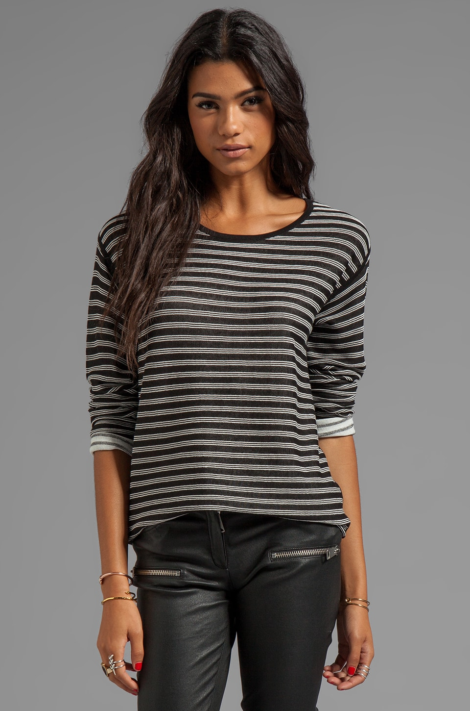 T by Alexander Wang Stripe Knit Long Sleeve Top in Black/White
