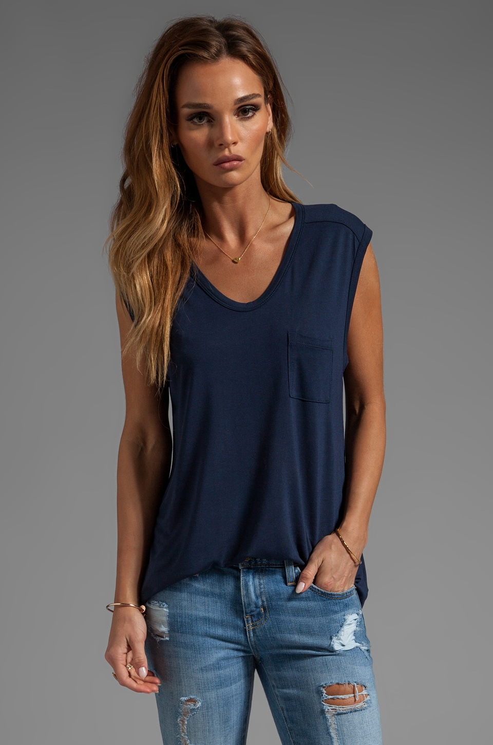 T by Alexander Wang Classic Muscle Tee With Pocket in Indigo