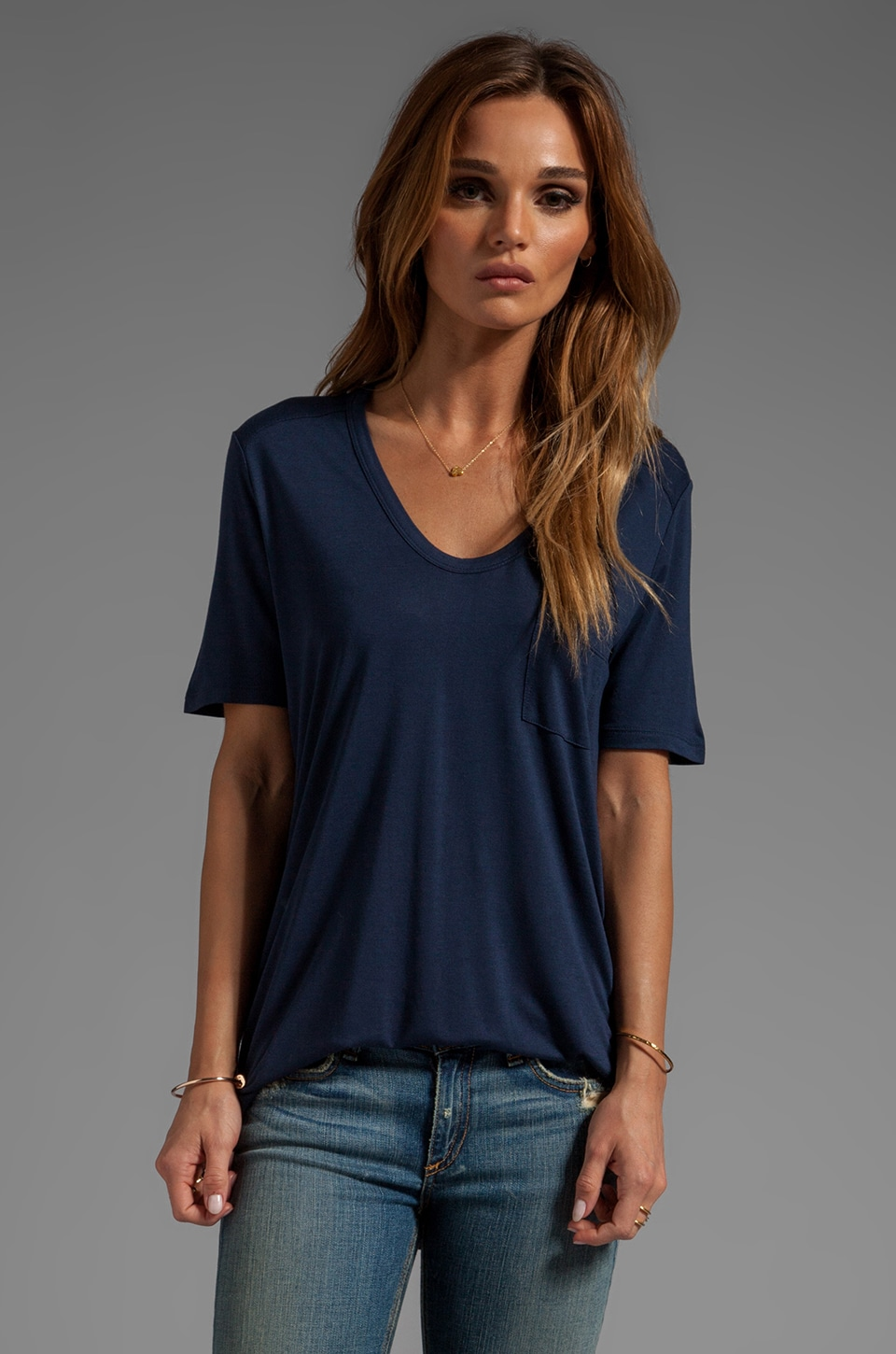 T by Alexander Wang Classic Tee With Pocket in Indigo