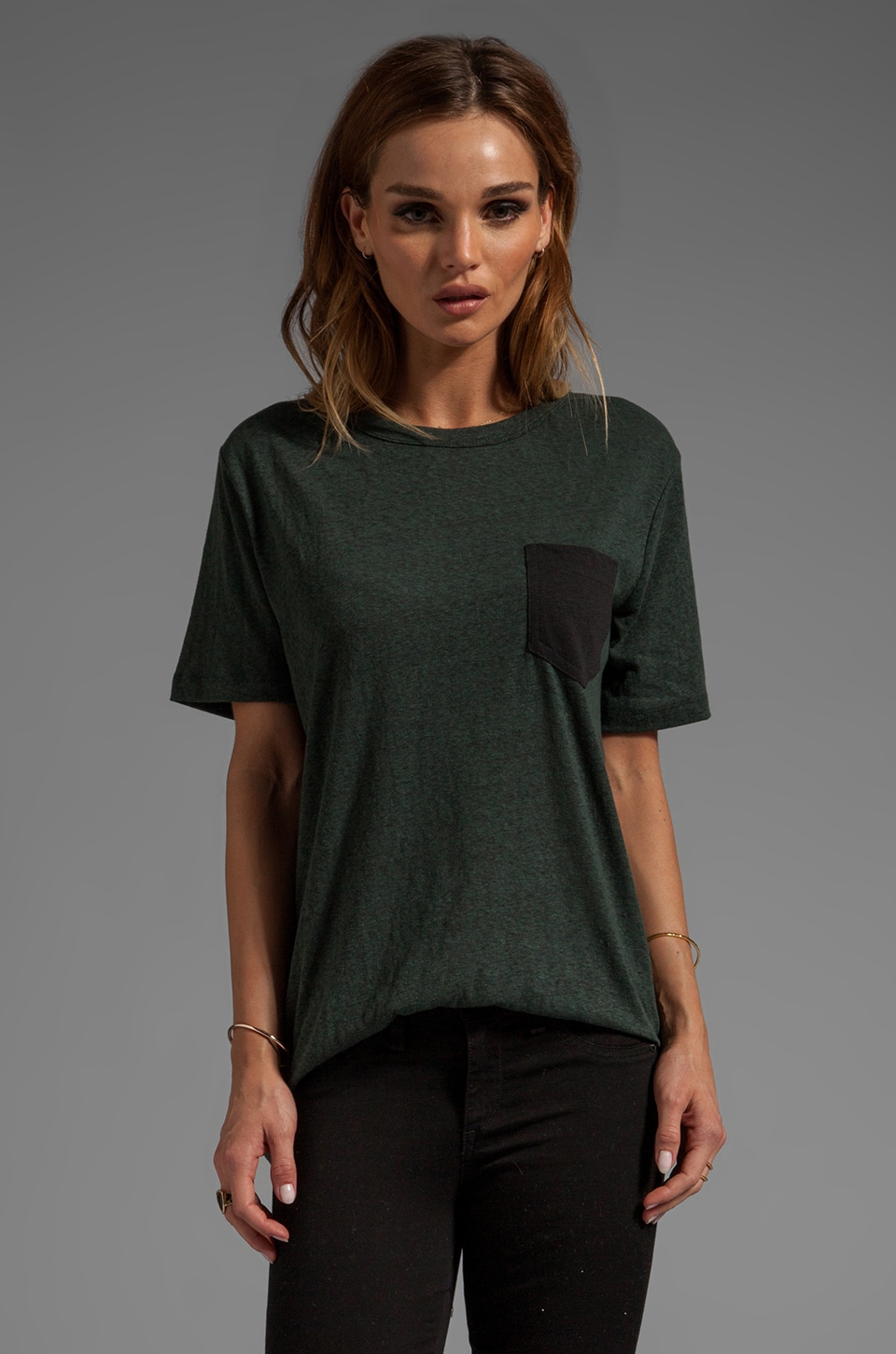 T by Alexander Wang Textured Jersey Tee With Contrast Pocket in Forest