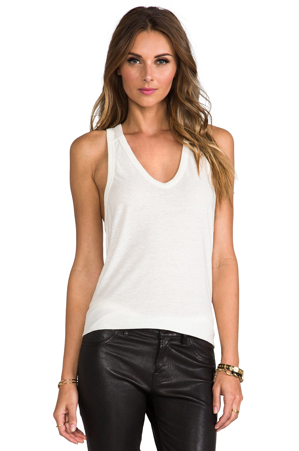 T by Alexander Wang Slub Classic Tank With Pocket in Ivory