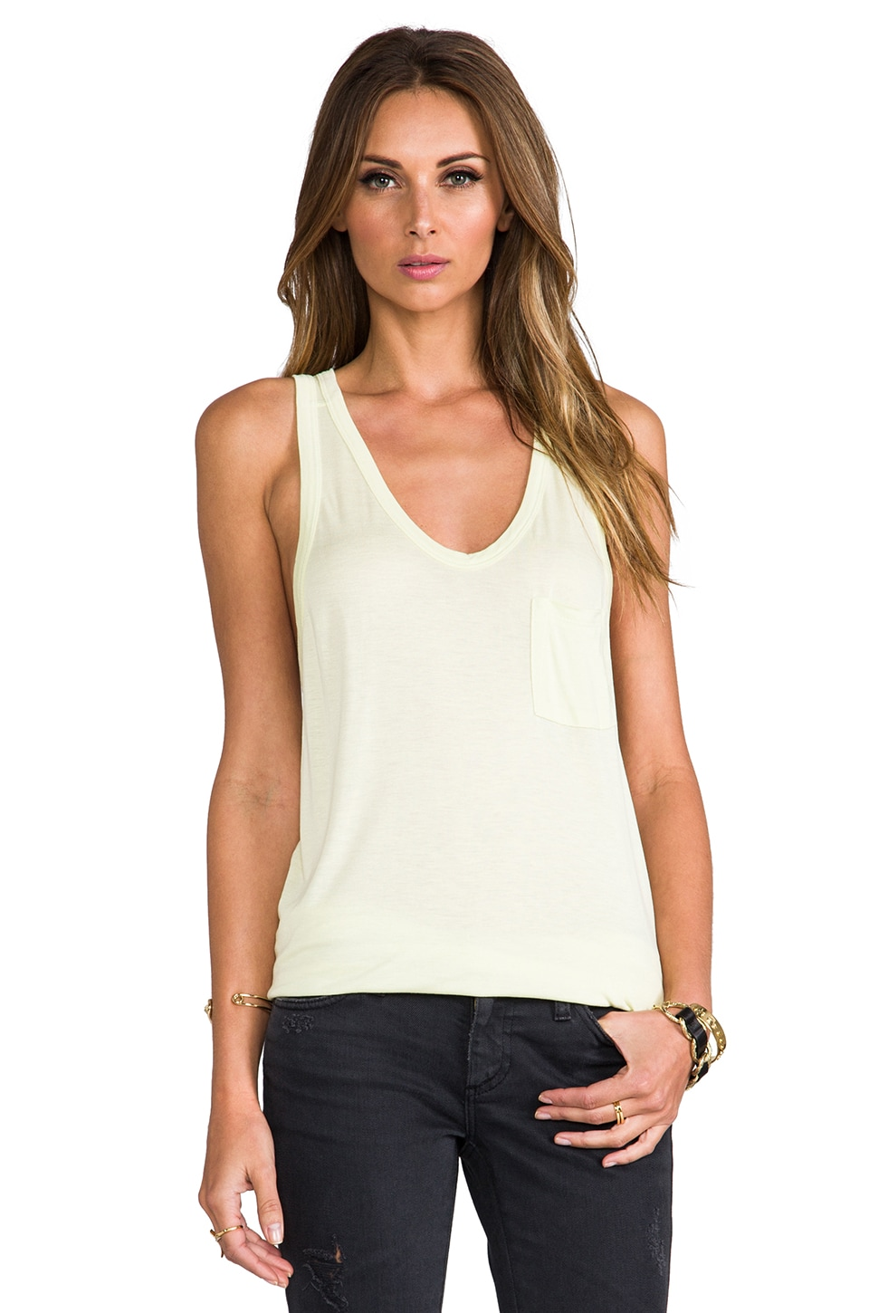T by Alexander Wang Classic Tank with Pocket in Lemon