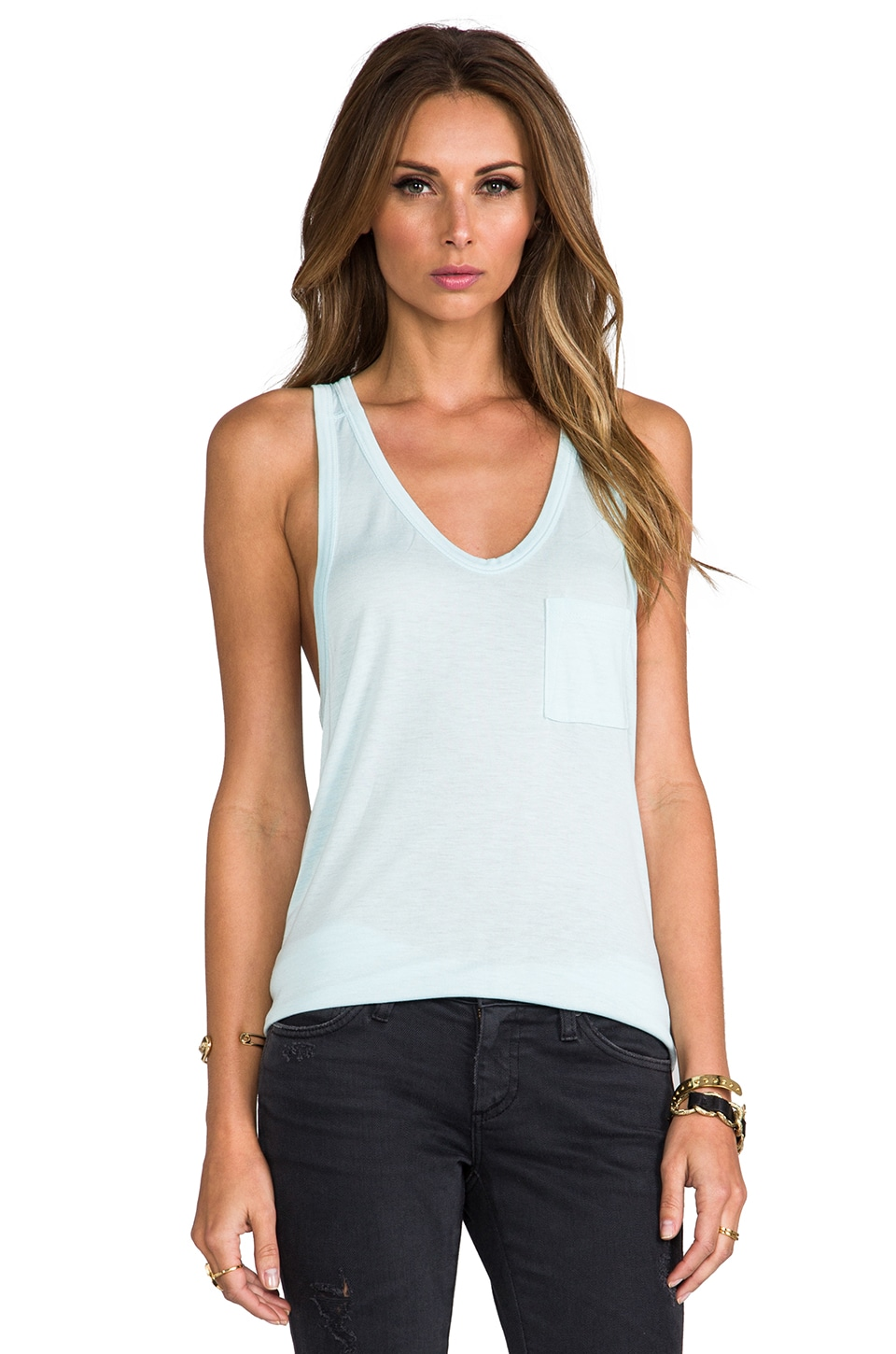 T by Alexander Wang Classic Tank with Pocket in Sky