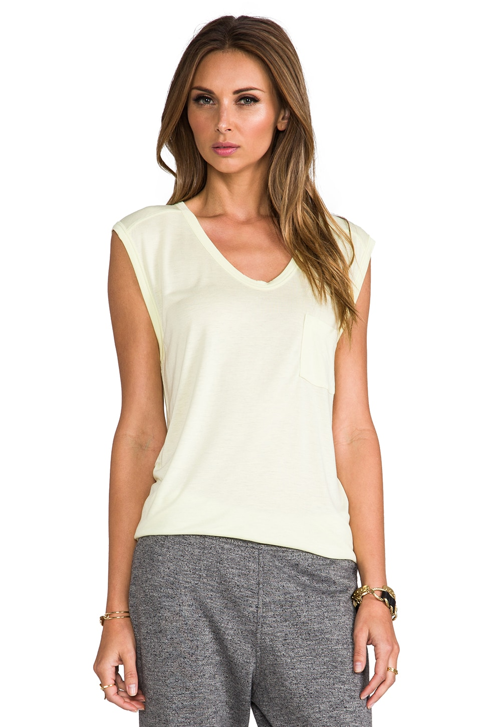 T by Alexander Wang Classic Muscle Tee with Pocket in Lemon