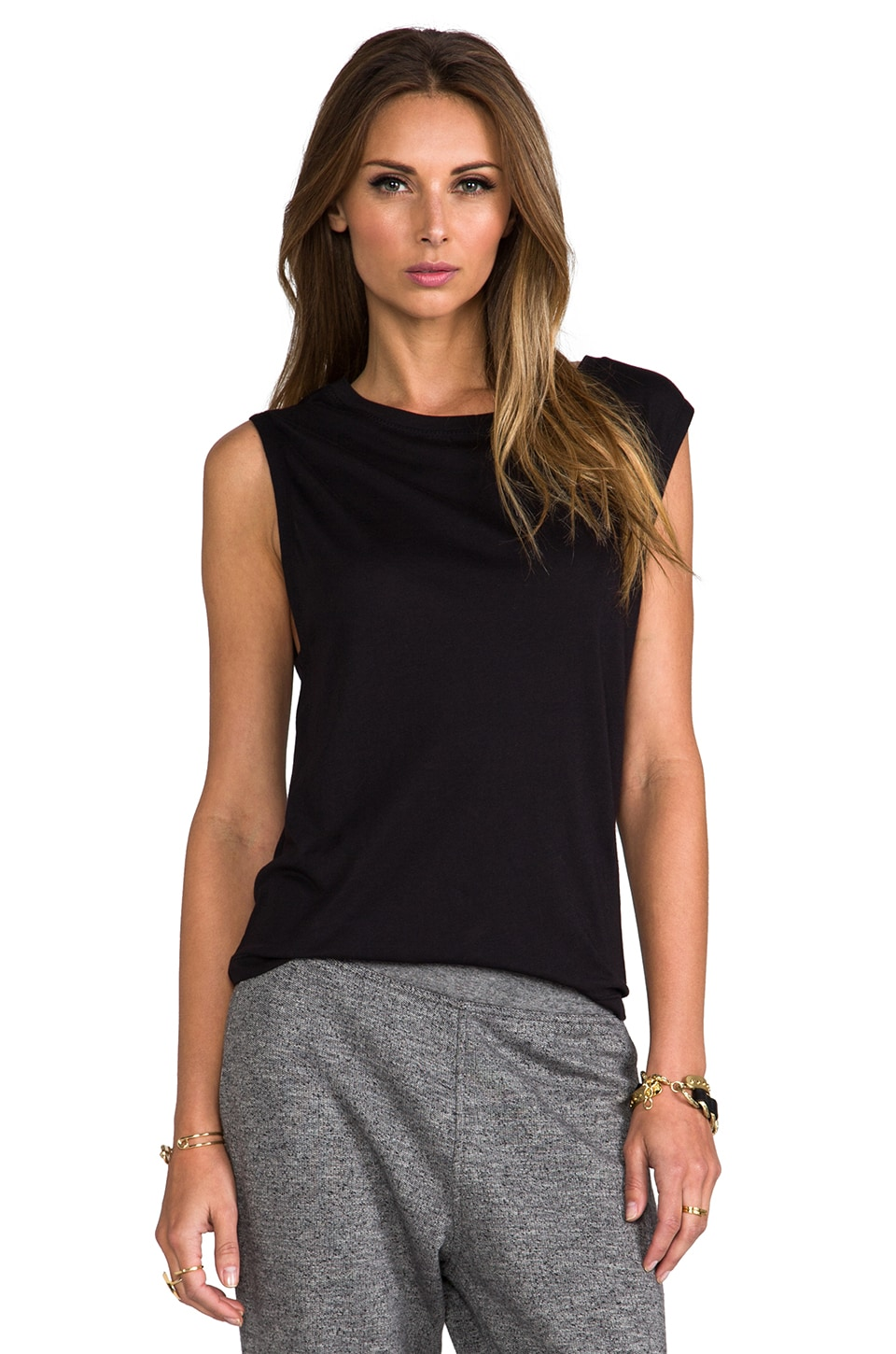T by Alexander Wang Single Jersey Muscle Tee in Black