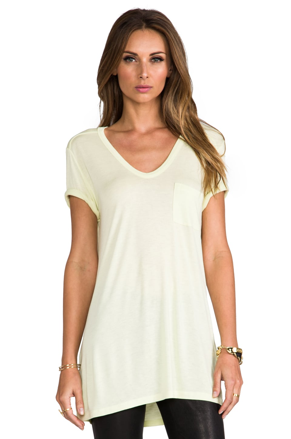 T by Alexander Wang Classic Tee with Pocket in Lemon