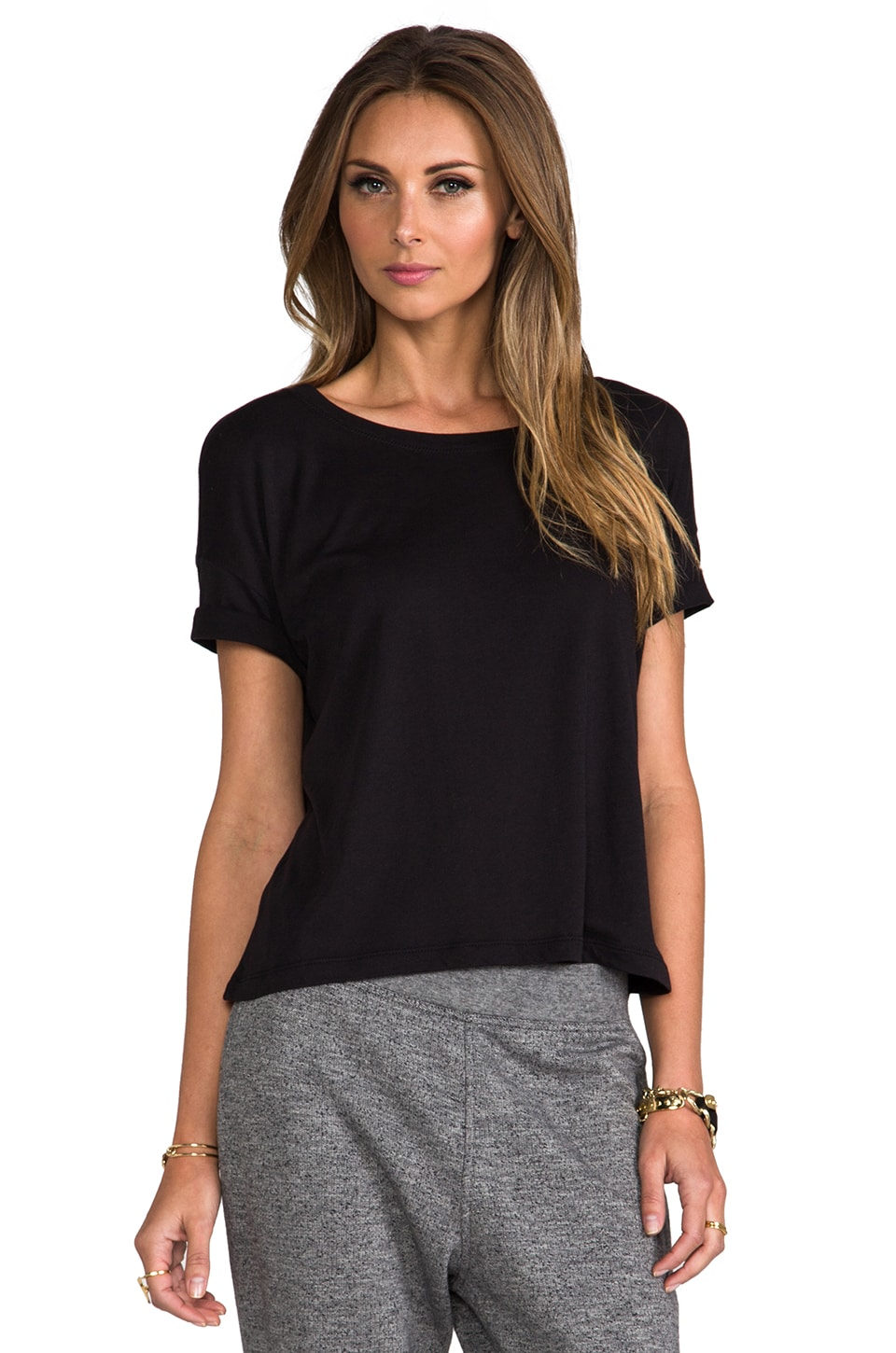 T by Alexander Wang Single Jersey Short Sleeve Tee in Black