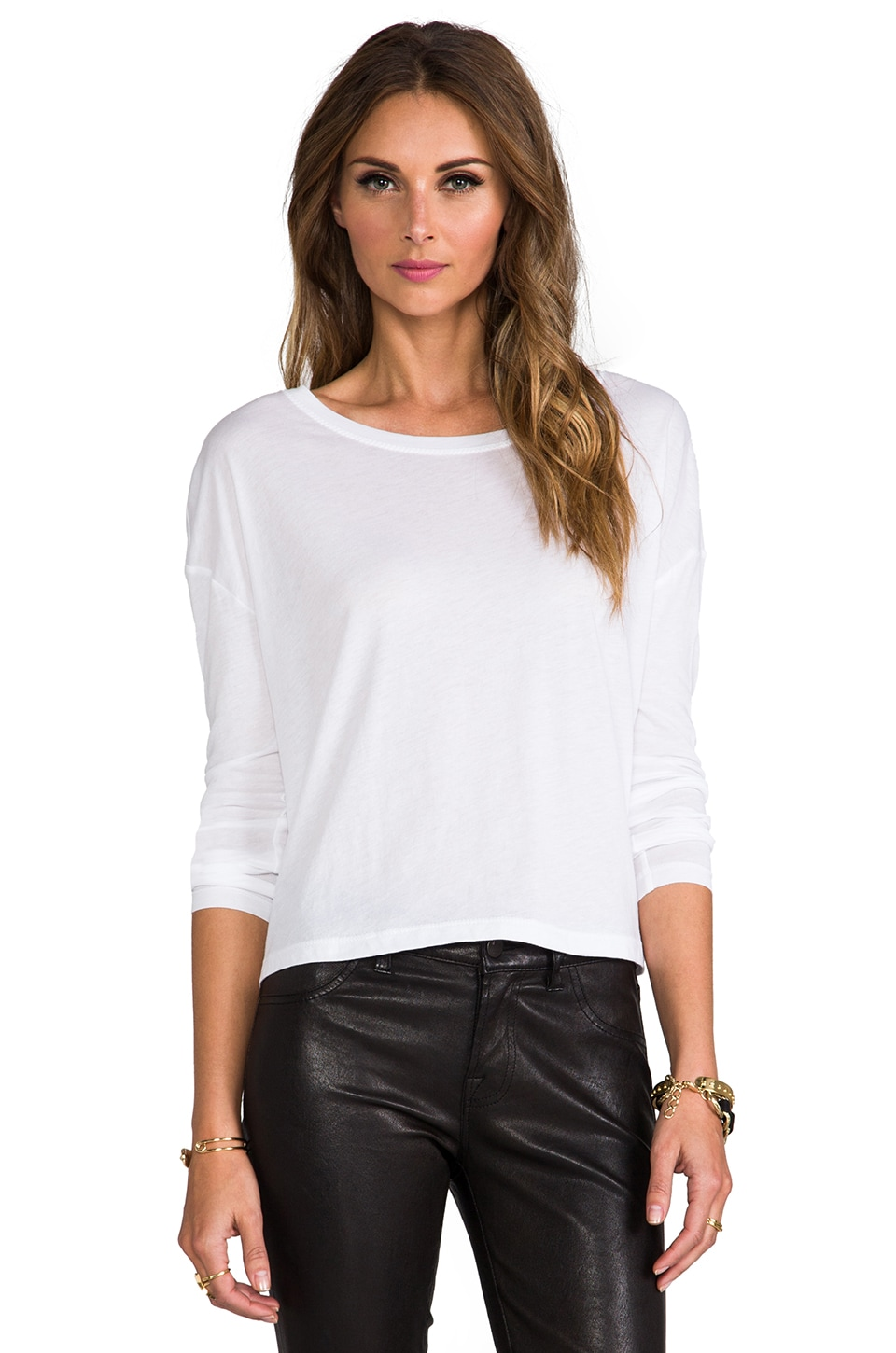 T by Alexander Wang Single Jersey Long Sleeve Tee in White