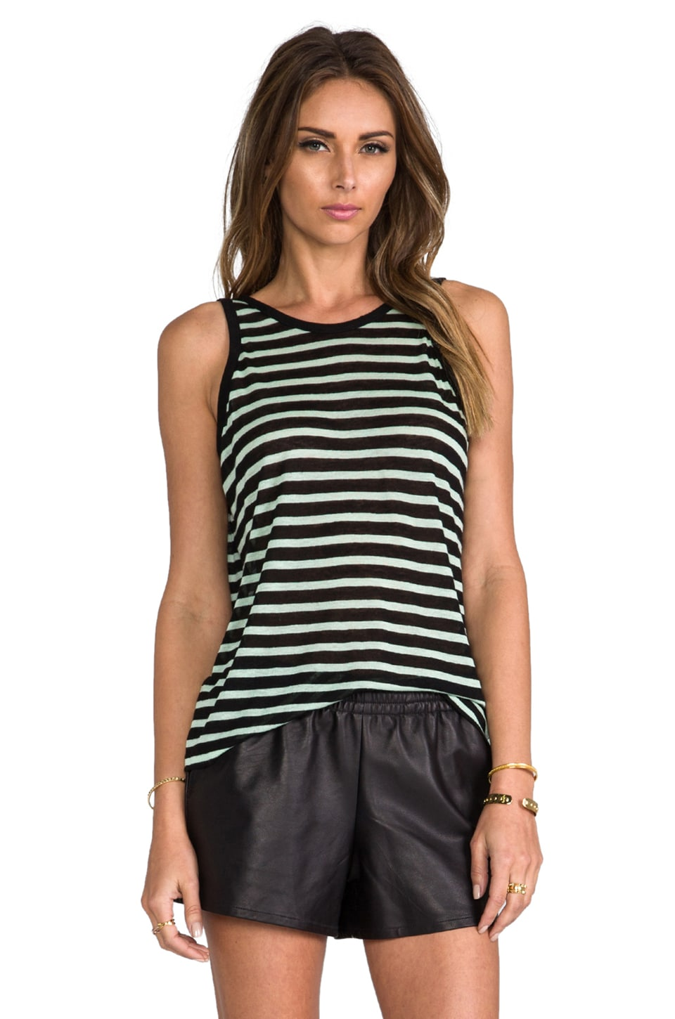 T by Alexander Wang Stripe Linen Tank in Mint & Black