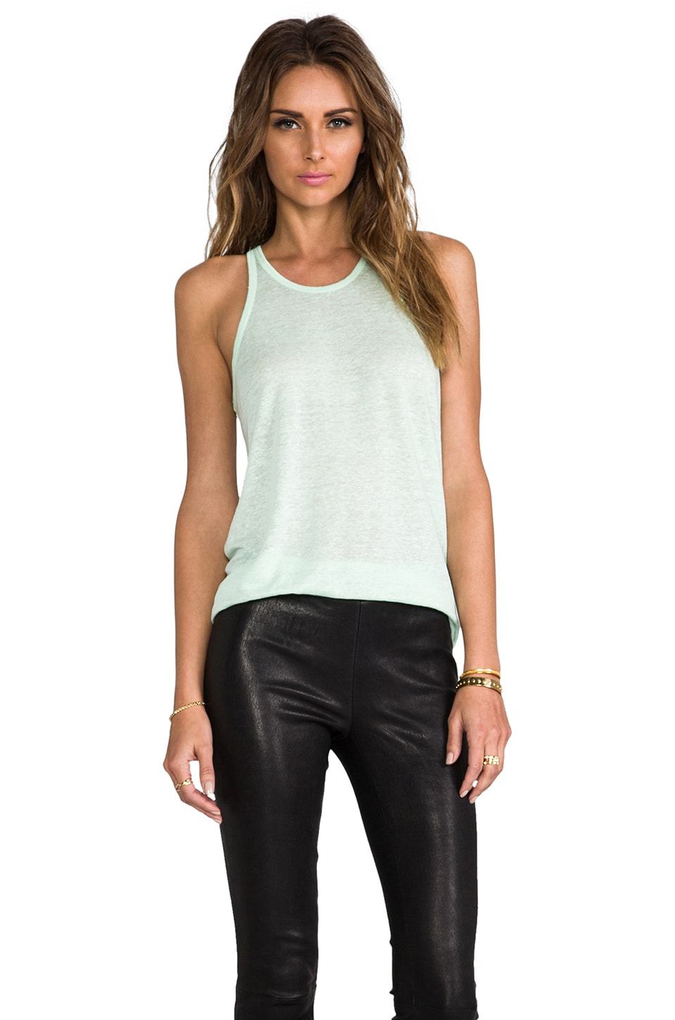 T by Alexander Wang Linen Silk Jersey Tank in Peppermint
