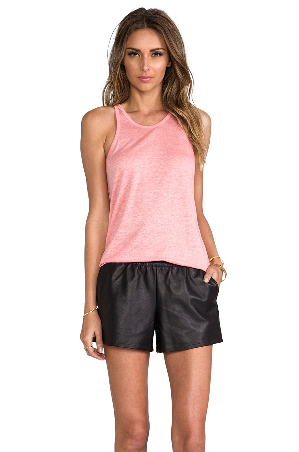 T by Alexander Wang Linen Silk Jersey Tank in Watermelon