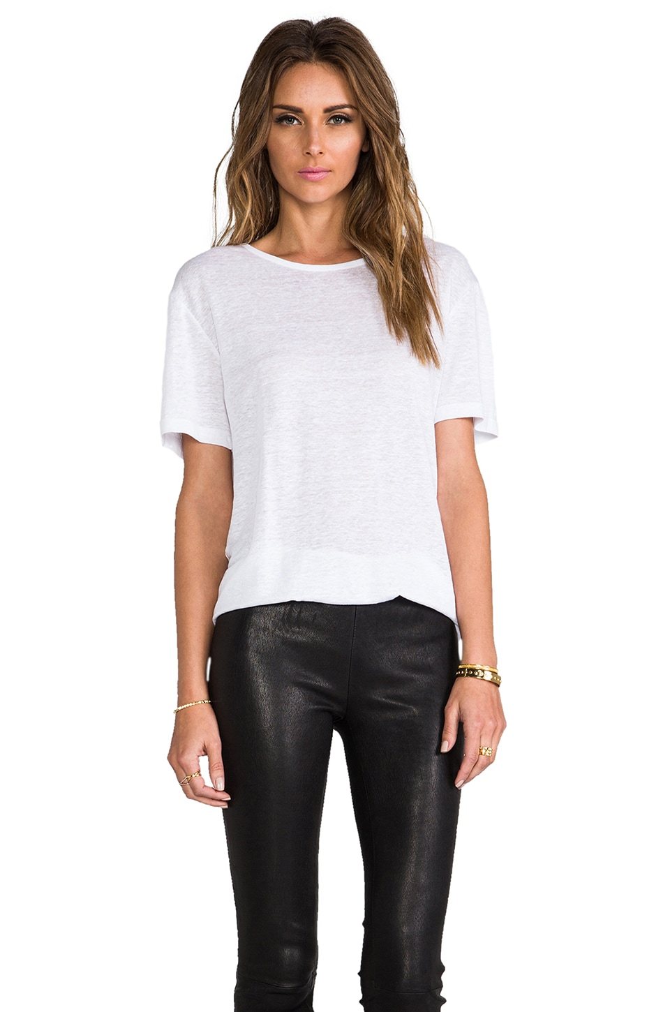 T by Alexander Wang Linen Silk Short Sleeve Tee in White