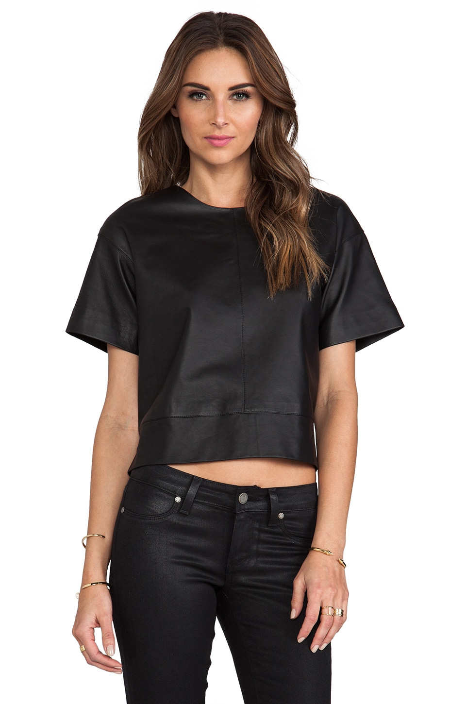 T by Alexander Wang Lightweight Leather Tee in Black