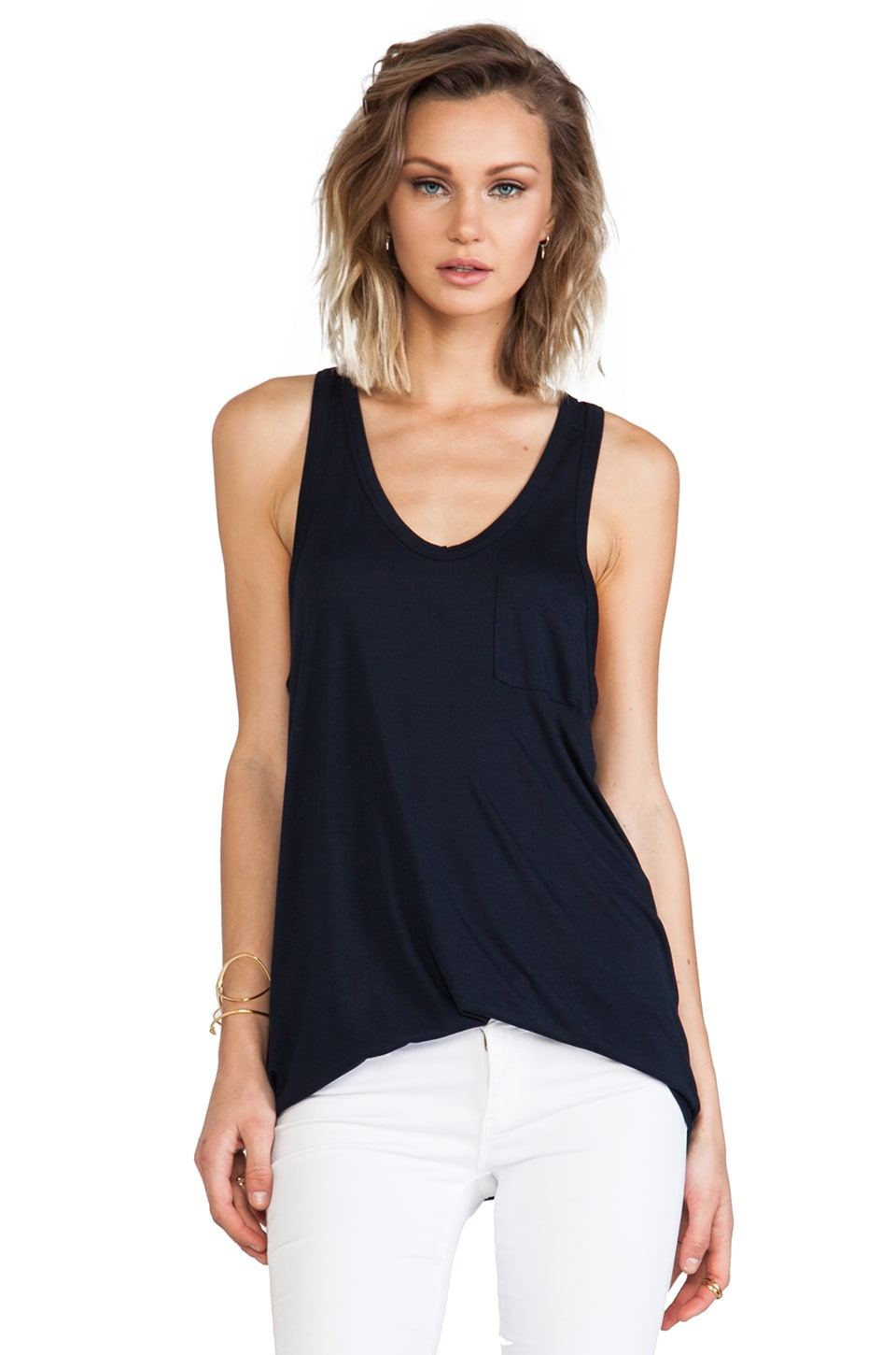 T by Alexander Wang Classic Pocket Tank in Ink