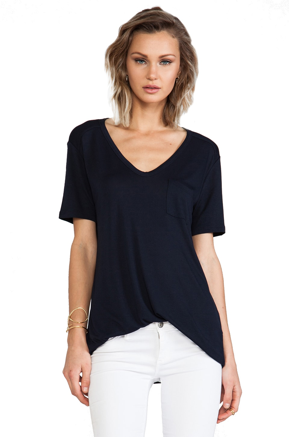 T by Alexander Wang Classic Pocket Tee in Ink