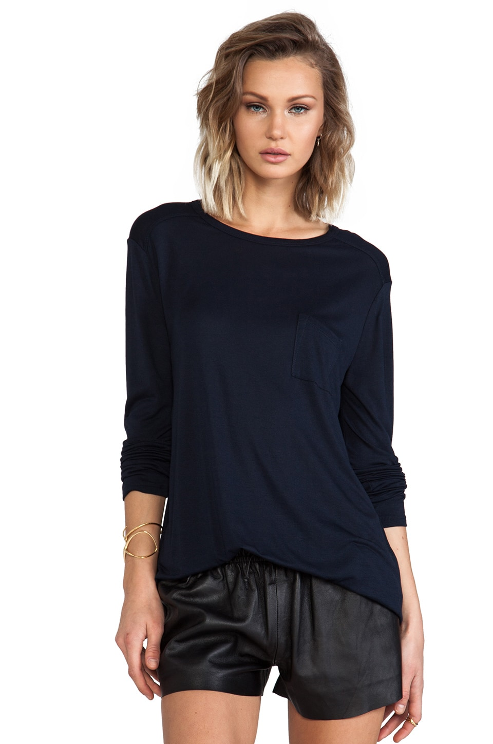 T by Alexander Wang Classic Long Sleeve Pocket Tee in Ink