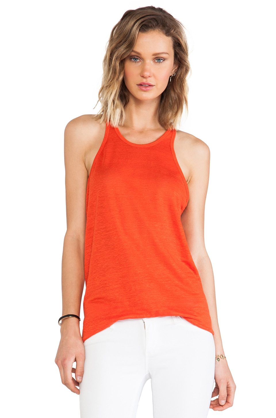 T by Alexander Wang Linen Silk Jersey Tank in Cola