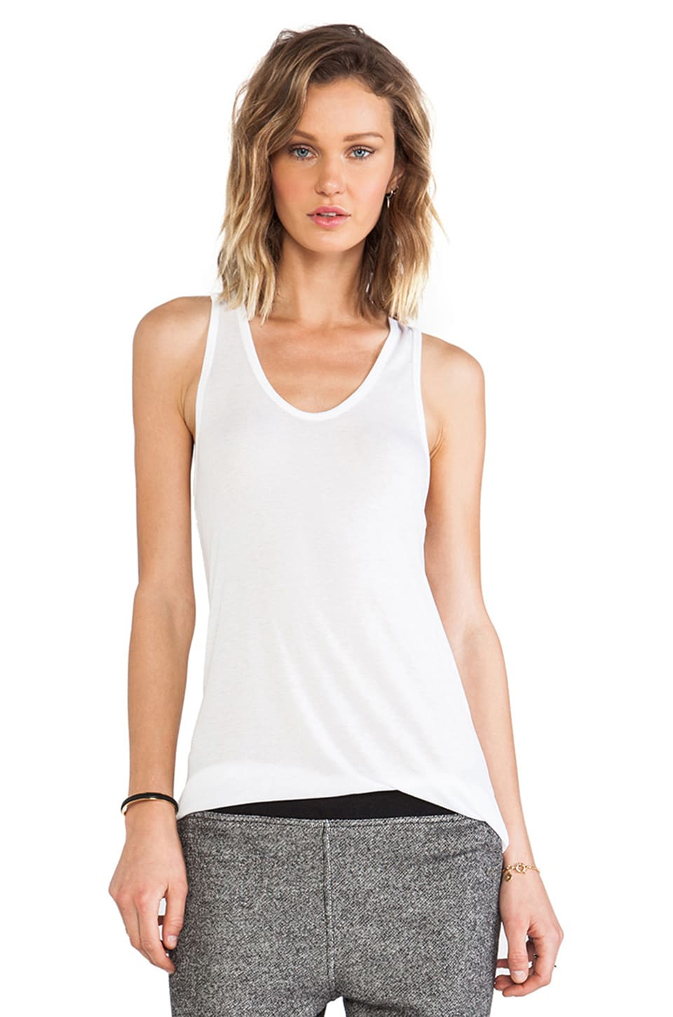 T by Alexander Wang Soft Melange Jersey Tank in White