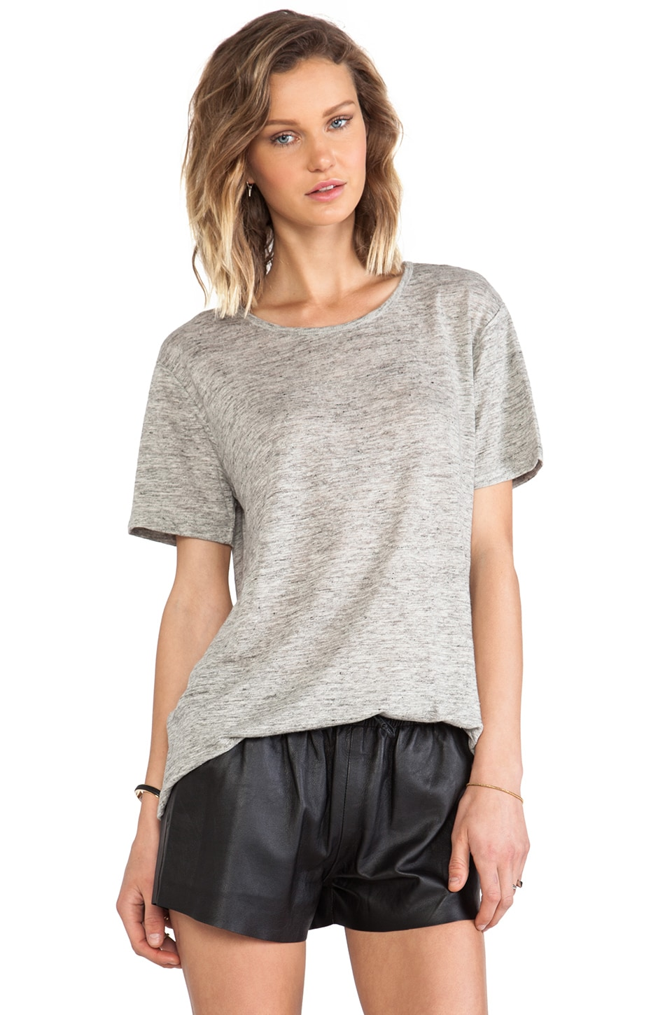 T by Alexander Wang Linen Jersey Short Sleeve Tee in Light Heather Grey
