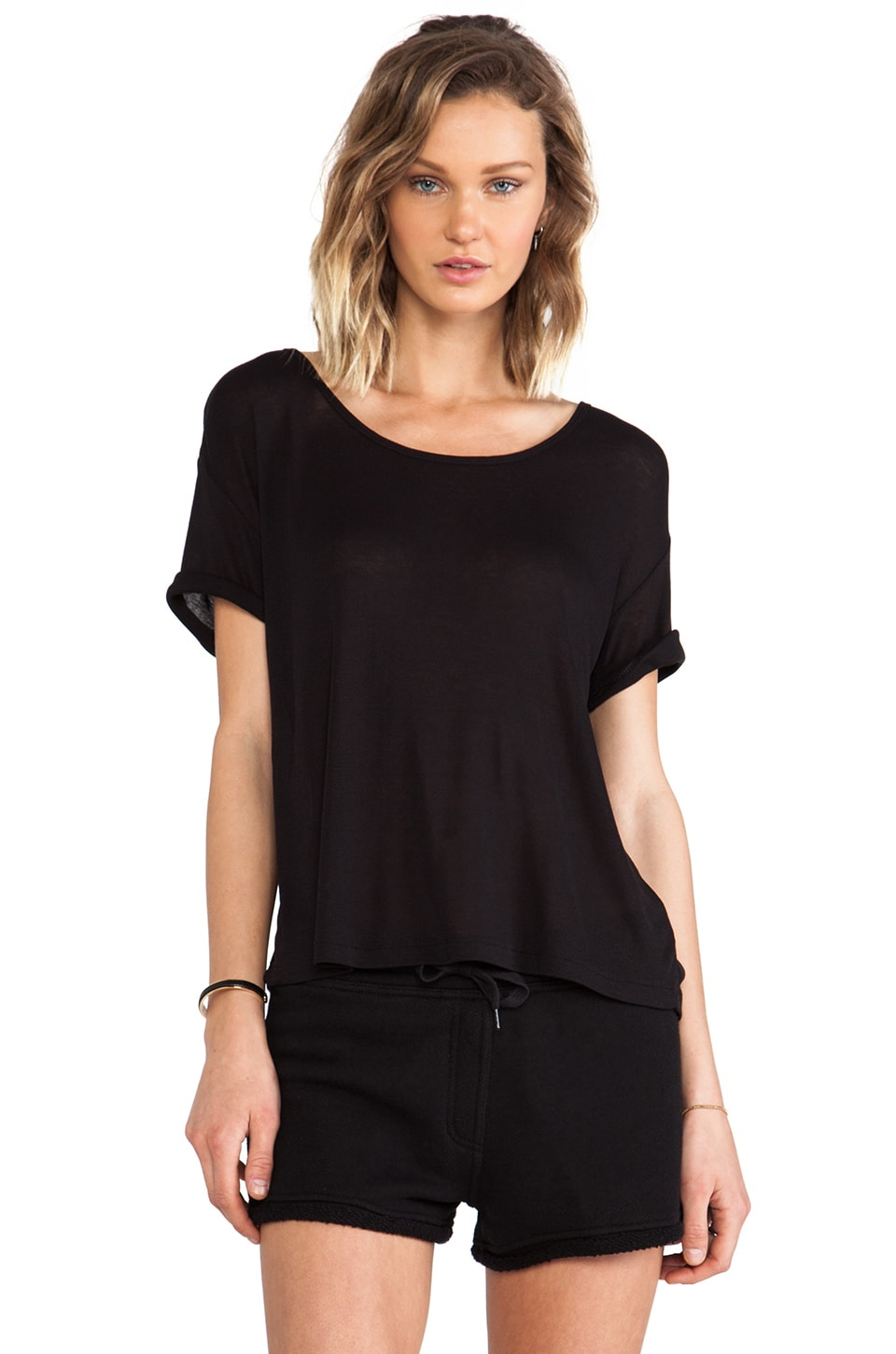 T by Alexander Wang Soft Melange Jersey Scoop Neck Tee in Black
