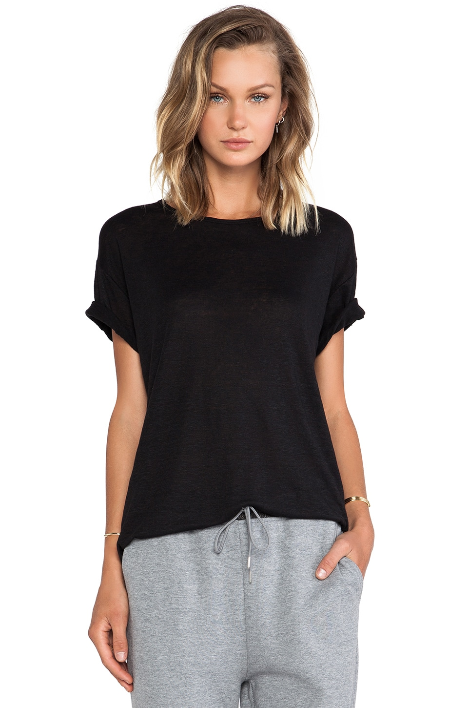 T by Alexander Wang Linen Silk Jersey Oversized Tee in Black