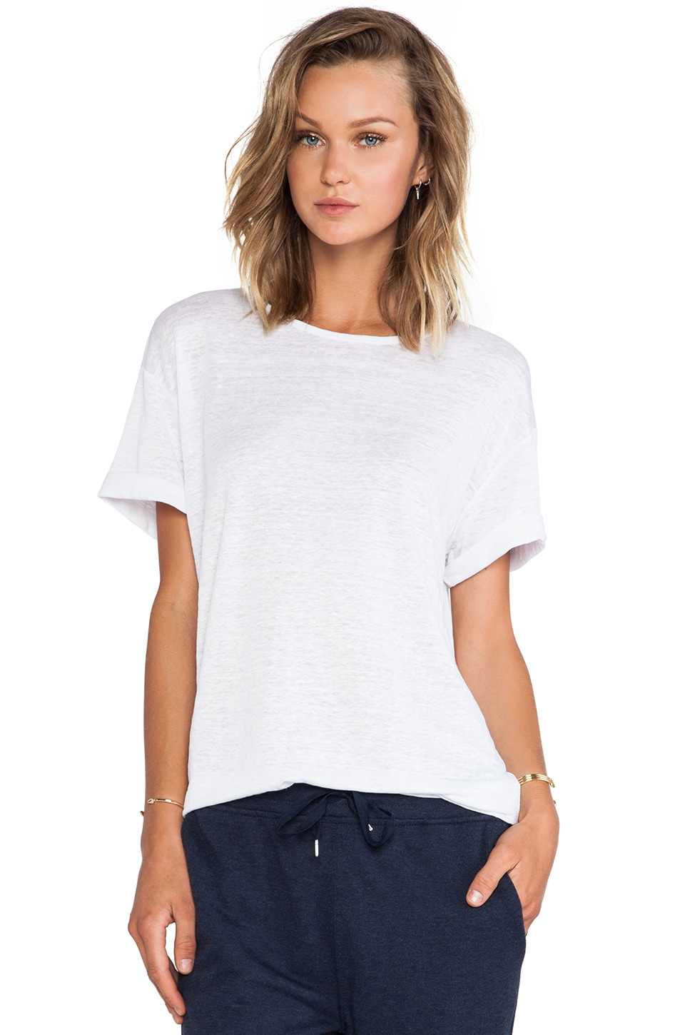 T by Alexander Wang Linen Silk Jersey Oversized Tee in White
