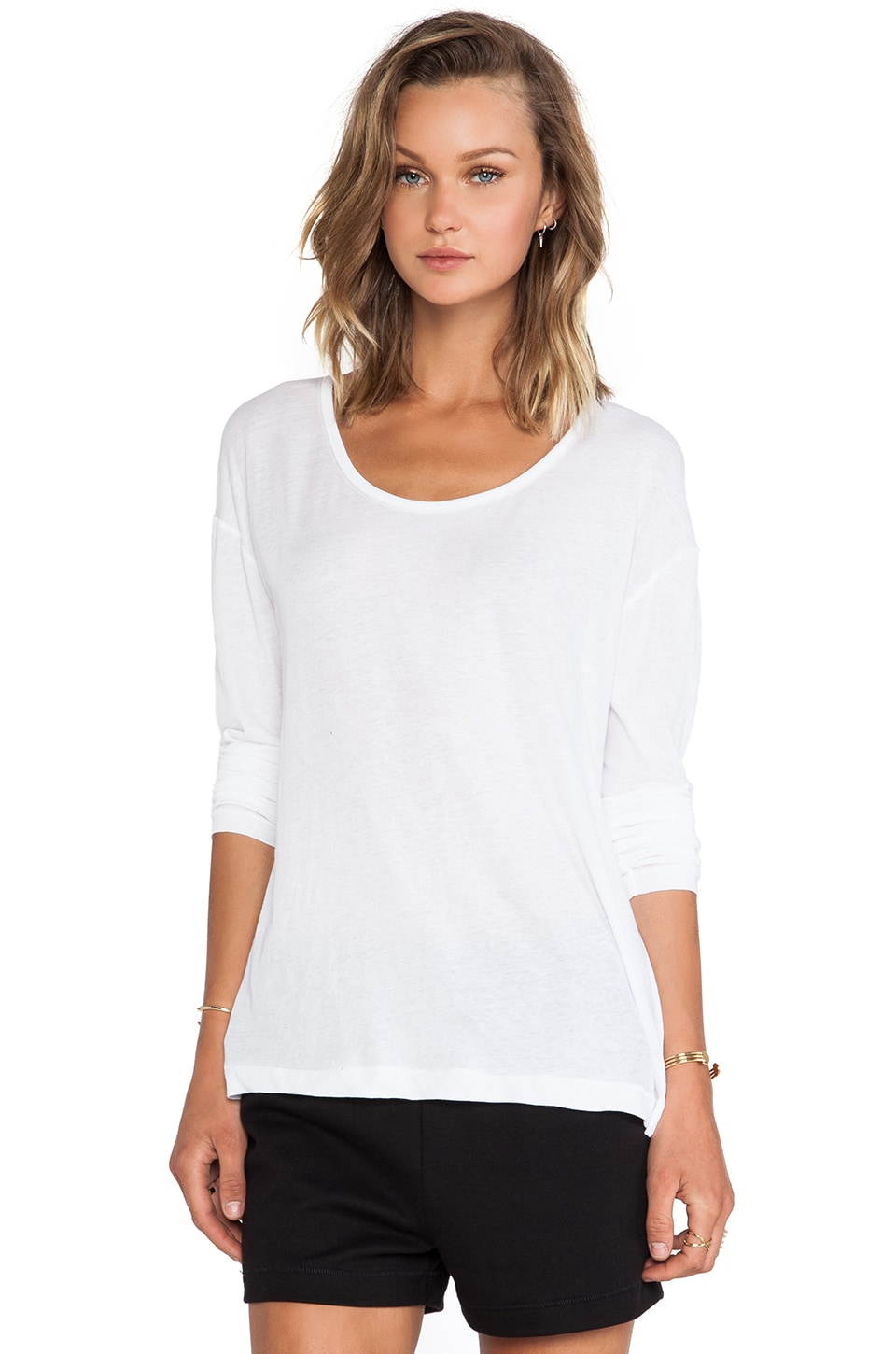T by Alexander Wang Lightweight Low Neck Long Sleeve Tee in White
